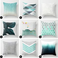 Grey & Teal Throw Pillows