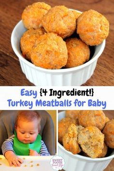 Easy {4 Ingredient} Turkey Meatballs for Baby - perfect for little hands! Super soft texture and easy to whip up, too. http://www.sweettoothsweetlife.com/easy-4-ingredient-turkey-meatballs-for-baby/