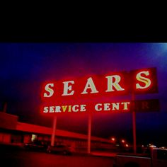 Neon Sears Sign in downtown Kansas city.  I liked the retro look