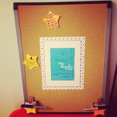 Create positivity in the workplace. Small bulletin board, front of a thank you card, large clips, sticky notes, colored sharpies, and thumb tacks. Easy and cheap way to promote a positive work environment!  The challenge? Encourage employees to put their gratitude in writing daily/weekly and let it collect for the month!
