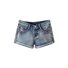 Retro Ripped Denim Shorts With Rolled Up Hem DT0230007 ($16) ❤ liked on Polyvore featuring shorts, blue, retro shorts, torn shorts, destroyed jean shorts, destroyed denim shorts and ripped shorts