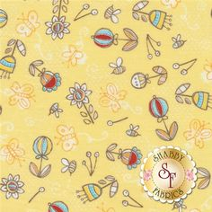 This fabric features flowers, bees, and butterflies tossed on a yellow background.
