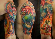 Pokemon Tattoo Arm Sleeve Featuring Slowpoke And Snorlax! #Pokemon #PokemonTattoo #Tattoo