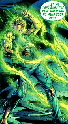 Greeted at death's door by the Green. From Earth 2 #3 (2012); art by Nicola Scott and Trevor Scott.