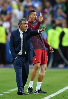 #EURO2016 Cristiano Ronaldo and manager Fernando Santos gestures on the touchline during the UEFA EURO 2016 Final match between Portugal and France at Stade de...