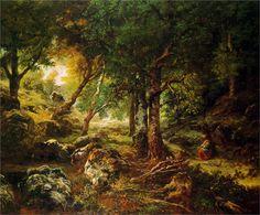 Forest landscape Sun - Theodore Rousseau