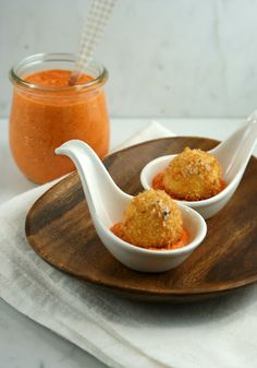 Fried Mozzarella Balls with Red Pepper Sauce