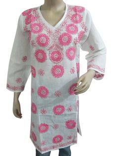Amazon.com: Tunic Top,designer Carnation Pink Tunic Embroidered Kurti: Clothing