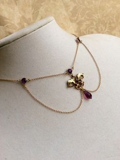 GOLD AMETHYST FESTOON NECKLaCE Beautiful Estate Nouveau Gold Glass Czech Glass Delicate Hand Crafted Choker Two Tone Pendant