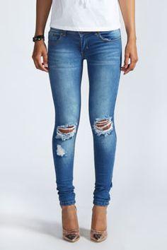 b34d7c3012e Loren Distressed Rip Knee Skinny Jeans at boohoo.com Petite Skinny Jeans,  Jeans Skinny
