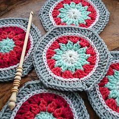 """Winter Hexagon - 5"""" hexagon in wintery colors - Cascade 220 is used for the pattern but any worsted or aran weight yarn will work too. Purchase pattern by Leonie Morgan."""