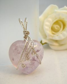 Amethyst Heart Wire Wrapped Pendant With Chain
