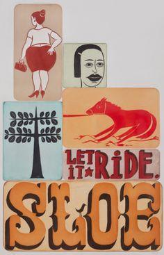 "Margaret Kilgallen (1967-2001, American), 1998, Sloe, Estampes et multiples, Color aquatint etching with chine collé, Edition of 30, 27.38"" x 17.5."" Exhibition: Chester's Blacksmith Shop"