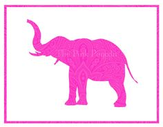 Neon Pink Paisley Indian Elephant Silhouette by thepinkpagoda