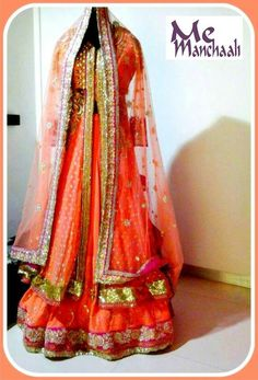 Classy and elegant bridal lehnga.. designed by manchaali