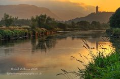 Wallace Monument and River Forth from Raploch, Stirling: Dawn  www.karlwilliamsphotography.co.uk