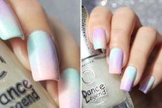 Soft pastel patchwork gradient with iridescent glitter.