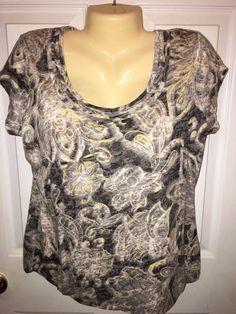 Liz Claiborne Size Large Ladies Shirt Gray Black Yellow & White Short Sleeve EUC #LizClaiborne #Blouse