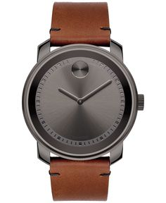 Masculine color details Movado's Bold collection watch in rustic leather and smoky steel. | Rustic brown leather strap with tack-stitch detail and gray ion-plated stainless steel buckle | Round gray i