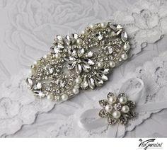 Wedding Garter Set Bridal Garter White Stretch Lace by GarterQueen, $59.99
