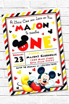 How Cool Are These 18 Fun Mickey Mouse Party Invitations? Mickey Mouse Clubhouse Invitations, Mickey Mouse Birthday Invitations, Photo Birthday Invitations, Invites, Mickey Mouse Clubhouse Birthday, Mickey Birthday, Birthday Ideas, Elmo Party, Mickey Party