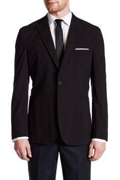 Nuovo Black Woven Two Button Notch Lapel Blazer