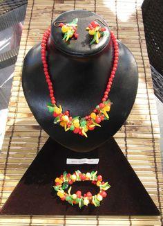 Vintage Fruit Salad Beaded Red Celluloid set Necklace  Earrings + Bracelet H.K.