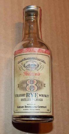 Gibson's Miniature Liquor Bottle  (1930 Mini Straight Rye Whiskey Glass Bottles)
