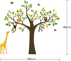 2013 New Design big Size 145x131cm Jungle Safari Animal Tree Wall Stickers Nursery Decal wall stickers for kids Baby rooms DIY-in Wall Stick...