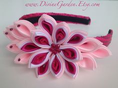 Items similar to Kanzashi Satin Headband - Pink and Fuchsia Flower girl hair accessories - Children, Teens, Girls and Babies on Etsy