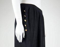 Chanel boutique vintage jersey pants skirt trouser oversize pants in black gold cc logo buttons -    Edit Listing  - Etsy