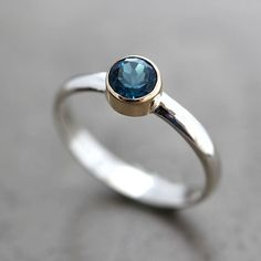London Blue Topaz Ring Teal Blue Stone 14k Gold and by TheSlyFox, $141.00