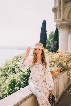 Outfit Details: Julia- Christy Dawn Dress (sold out, but also love this one, this one and this one), Preston & Olivia Hat,J.Crew Flats (old, similar here), Illesteva ...