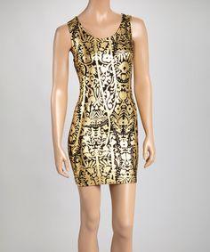 Loving this Black & Gold Floral Halter Dress on #zulily! #zulilyfinds
