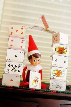 Elf on the Shelf playing with cards....