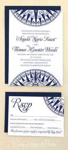 Compass Wedding Invitation Nautical Wedding by ConcertinaPress