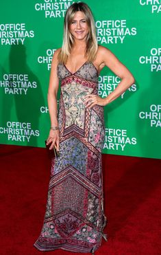 Jennifer Aniston in a Roberto Cavalli embroidered dress