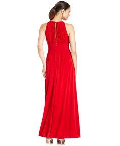 R&M Richards Sleeveless Beaded Evening Gown - Dresses - Women - Macy's