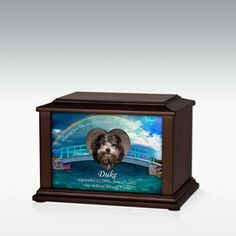 Rainbow Bridge Heart Frame Pet Cremation Urn - Engravable made from composite wood with a walnut veneer. A heart frame holds your favorite photo.