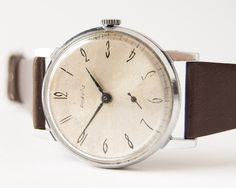 Men's wrist watch Raketa  silver olive tones watch  by SovietEra, $66.00
