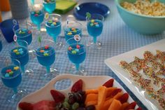 Fun food for the party. Jello cups with fish