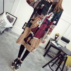 H,SA Women Cardigans 2016 Autumn Winter Long Sweater Jacket Harajuku Printed Sweater Jumper Femme Knitted Long Cardigan camisola
