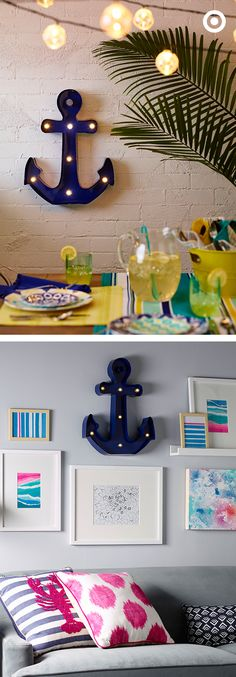 Inside or outdoors, here are two equally fun ways to add this nautical-inspired, anchor marquee light to your space. Hang it on an outer wall to add ambiance to a patio party, or anchor an indoor gallery wall with an unconventional piece of art. Bonus: It's battery-operated, so no cord to worry about! Be on the look for this nautical piece at your local Target.