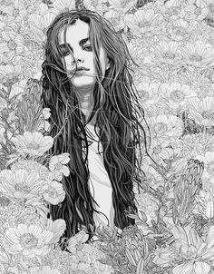 Pedro Tapa is a talentedSpanish artist who creates beautiful illustrative portraits in black & white and in colorsof young ladies in flowers.