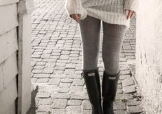 Sweater, sweater tights, hunter boots. YES! by earnestine
