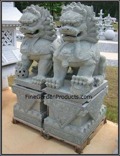 48 Inch Granite Chinese Foo Dog Pair, Northern Style  www.finegardenproducts.com