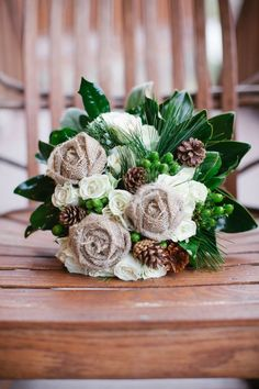 Wedding Bouquet With Pinecones