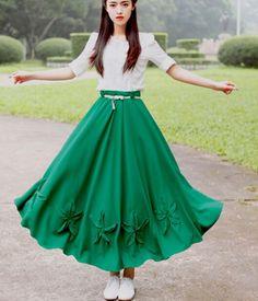 Vintage Green Floral Chiffon Maxi Skirt