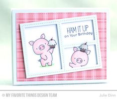 Handmade card from Julie Dinn featuring Birdie Brown Hog Heaven stamp set and Blueprints 2 and Blueprints 29 Die-namics #mftstamps