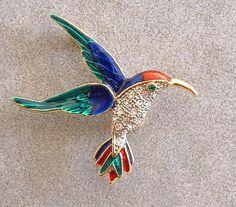 Mabelmae's Attic : RED BLUE GREEN ENAMEL & CRYSTAL HUMMINGBIRD PIN BROOCH